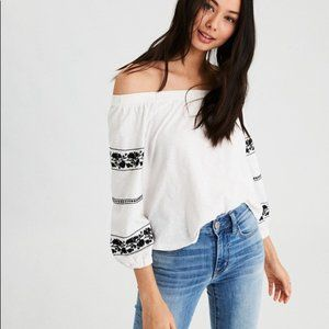American Eagle White Off The Shoulder Peasant Top